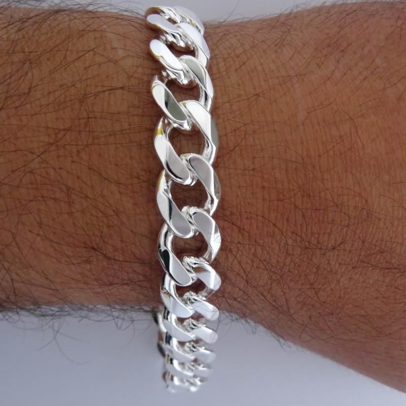 Sterling silver men's curb bracelet 12mm