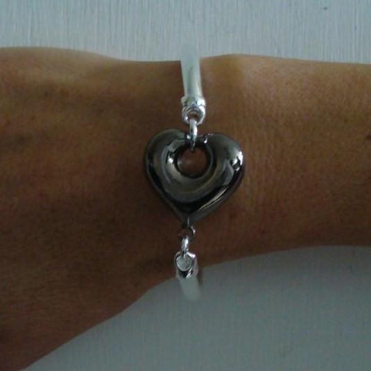 Sterling silver bangle bracelet with black rhodium plating