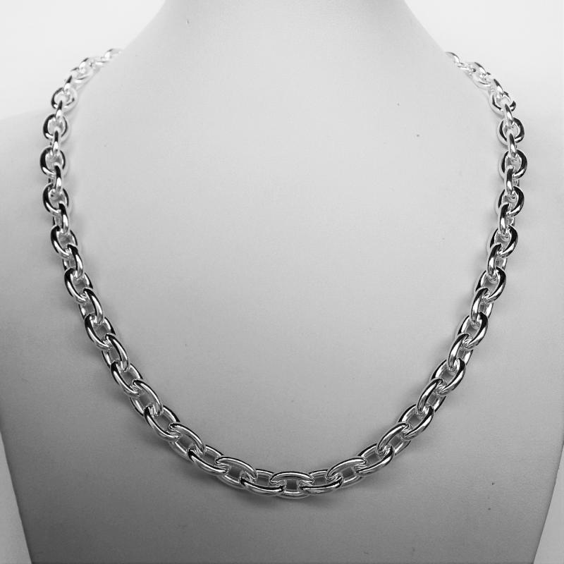 Silver handmade oval link necklace