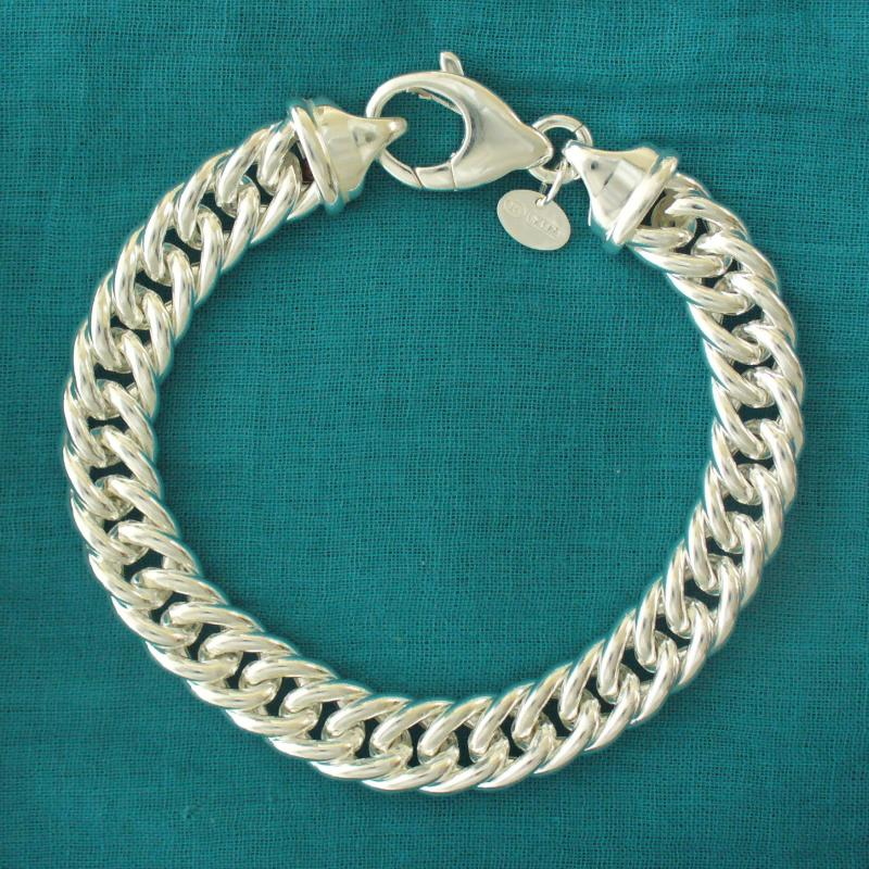 Sterling silver double curb link bracelet