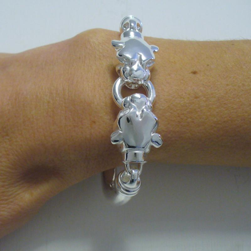 Sterling silver panther bangle bracelet.