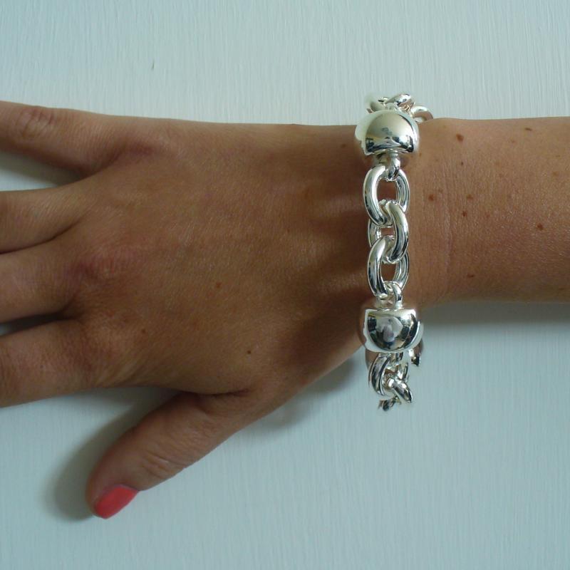 Bracciale argento 925 fantasia barilotto 18mm - Bracciale donna