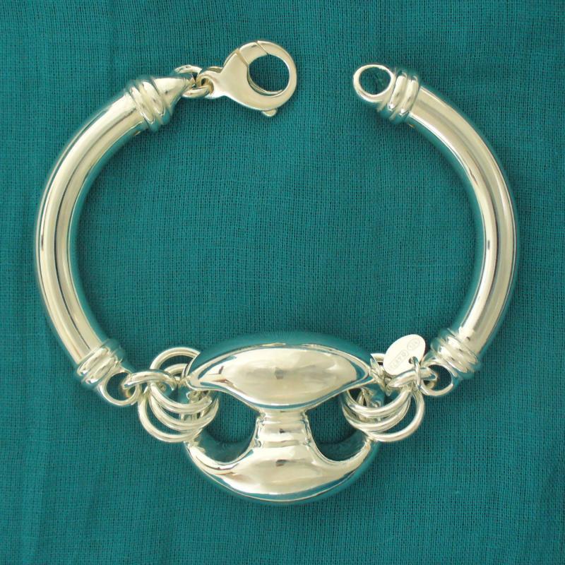 Bracciale argento 925 tubo maglia marina per donna