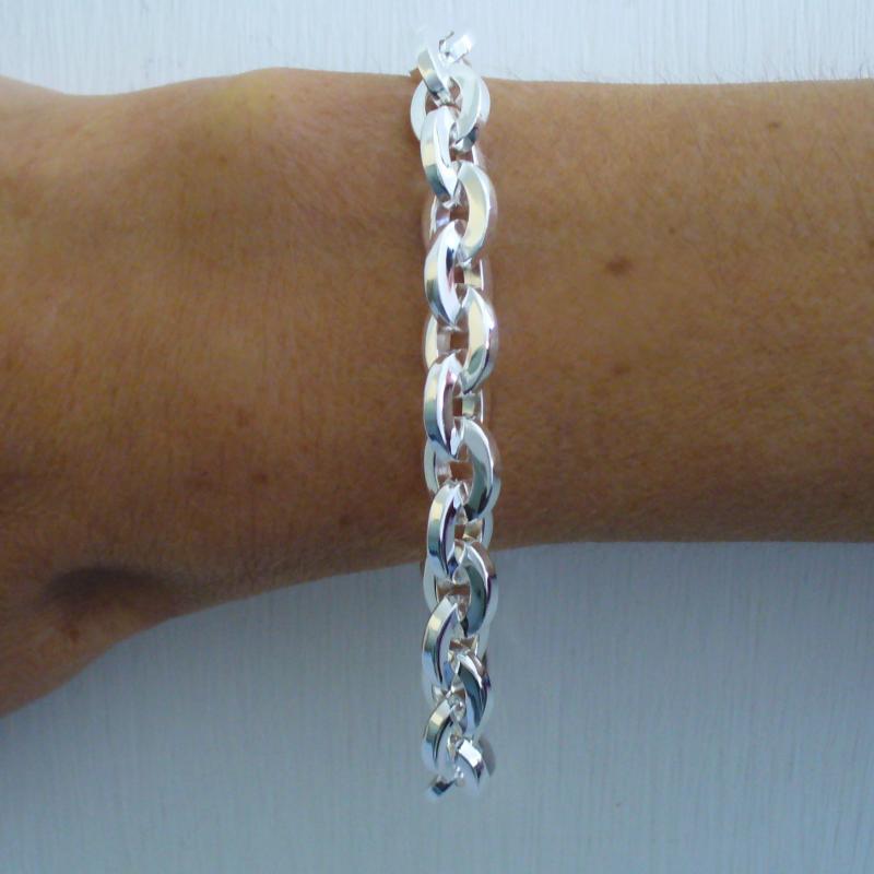 Sterling silver square link bracelet