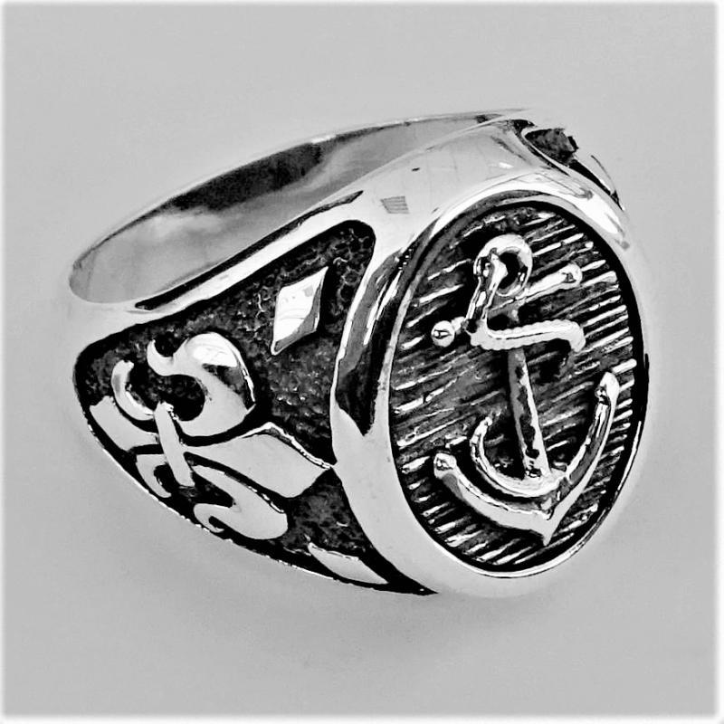 Anello da uomo in argento 925 con ancora