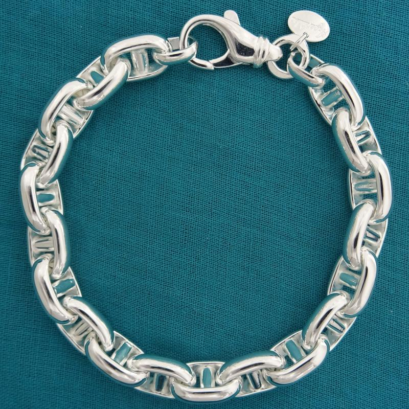 Solid sterling silver anchor chain bracelet