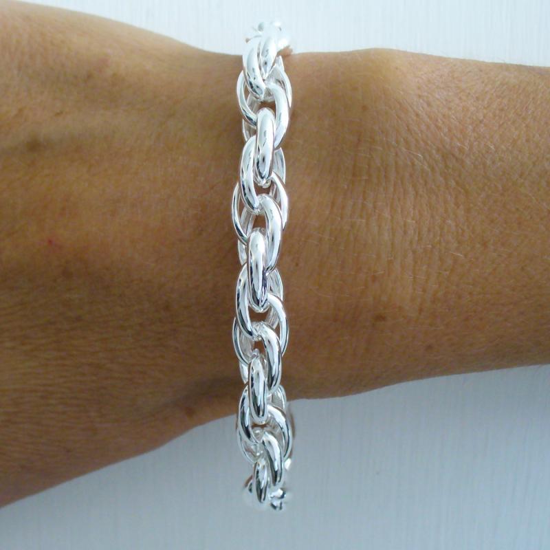 Silver bracelet 9mm double link