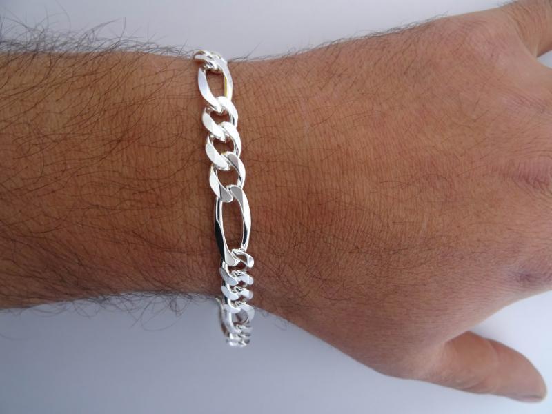 Sterling silver figaro bracelet 8mm b8aefcafcf6f