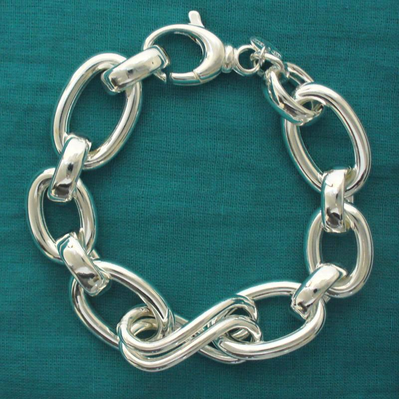Sterling silver oval links bracelet