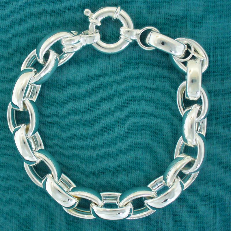 Sterling silver oval belcher bracelet 11mm. Silver oval link bracelet