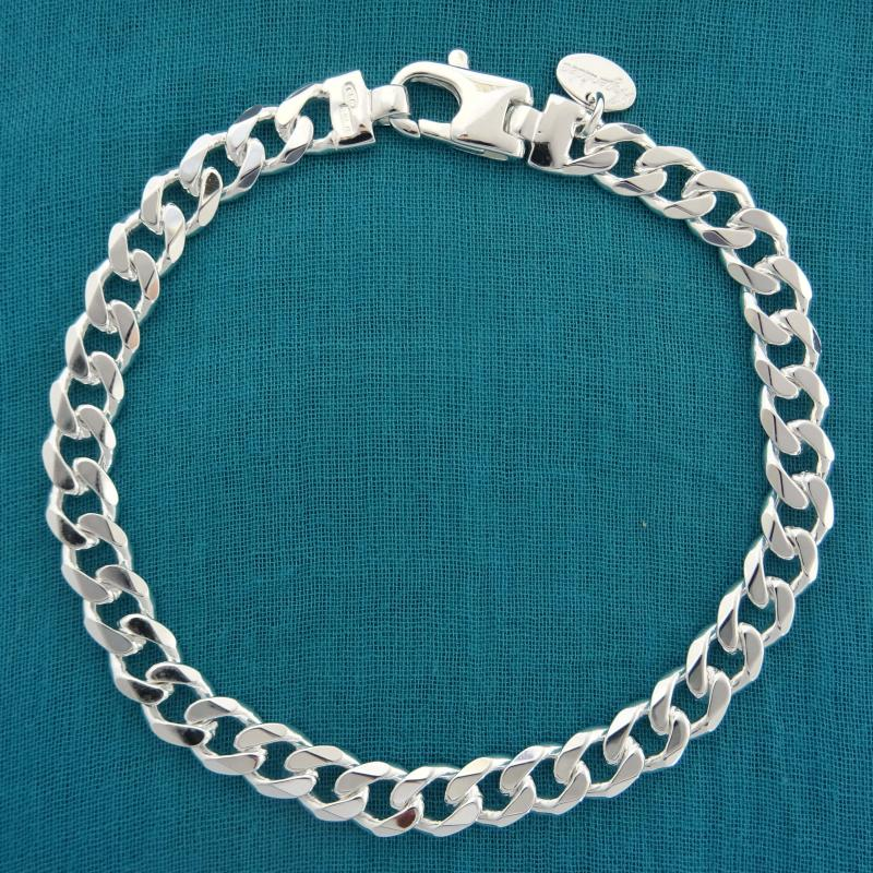 Argent Sterling .925 6.00 mm Curb Lien ID Bracelet