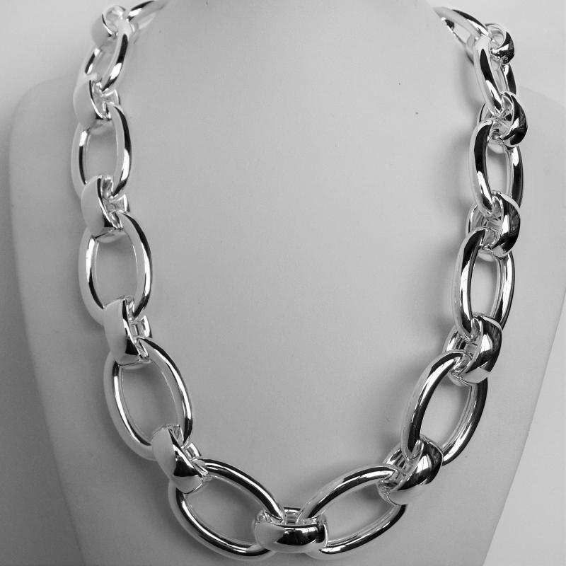 integrity oval necklace integrityovallinkstatementnecklace sterling statement silver link store