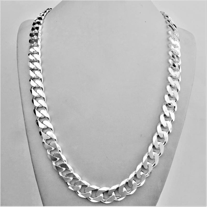 silver sterling solid width men jewellery chain s curb