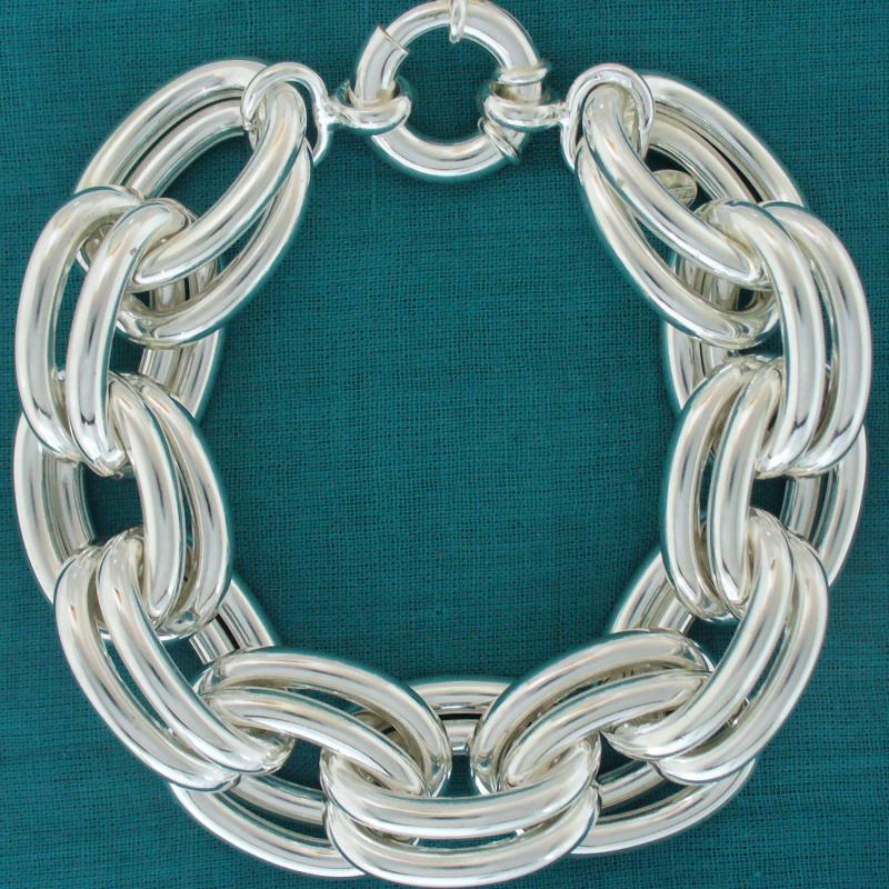 925 Italy silver double oval link bracelet