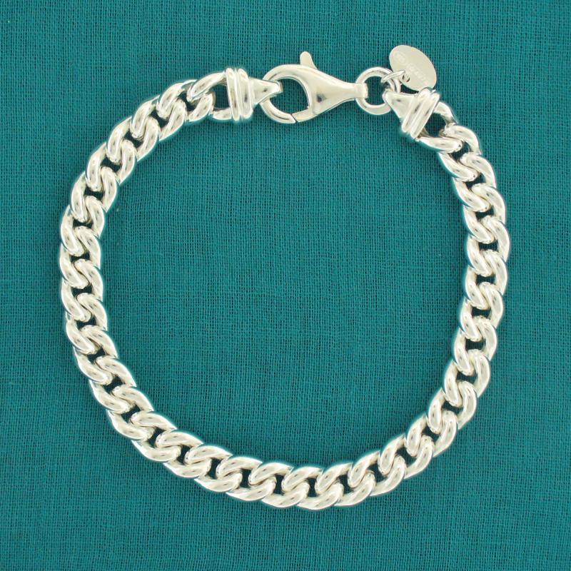 Sterling silver curb bracelet 7mm