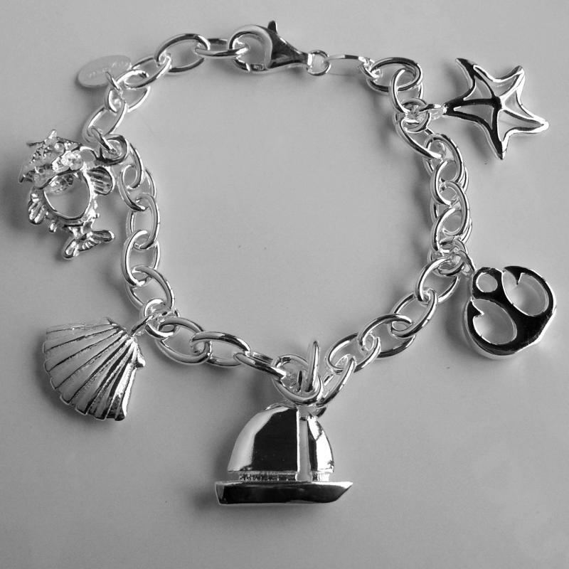 Silver sea charm bracelet