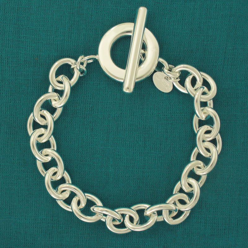 Bracciale maglie ovali argento chiusura t-bar