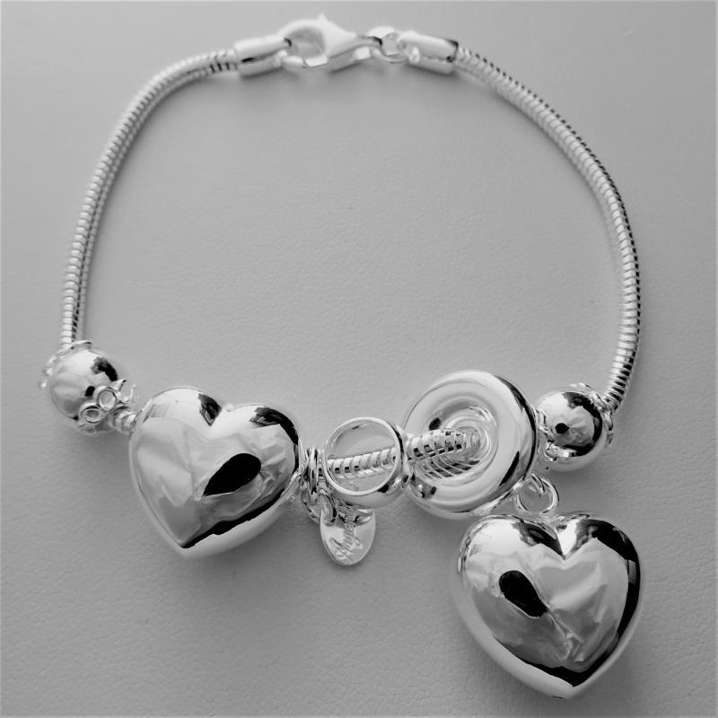 Bracciale argento charms scorrevoli e catena coda di topo snake
