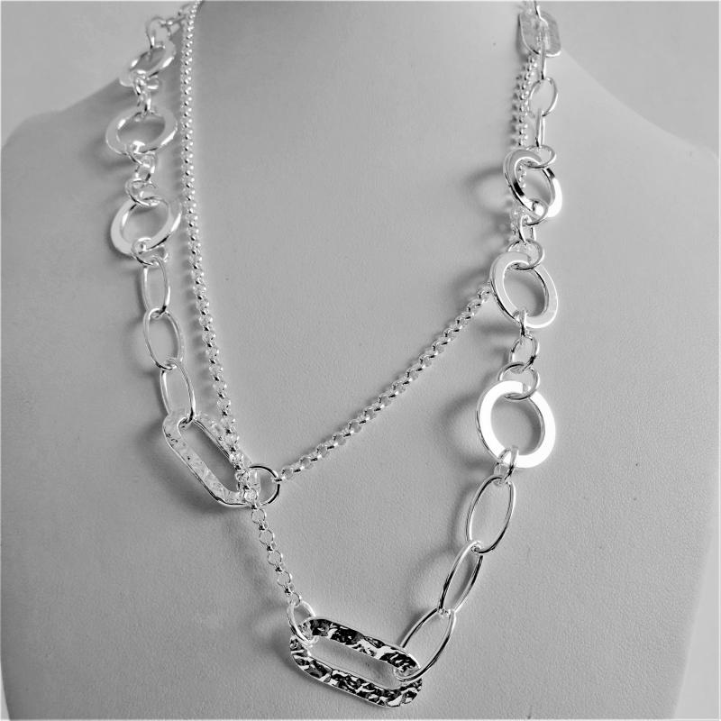 Long sterling silver necklace 90 cm round link chain