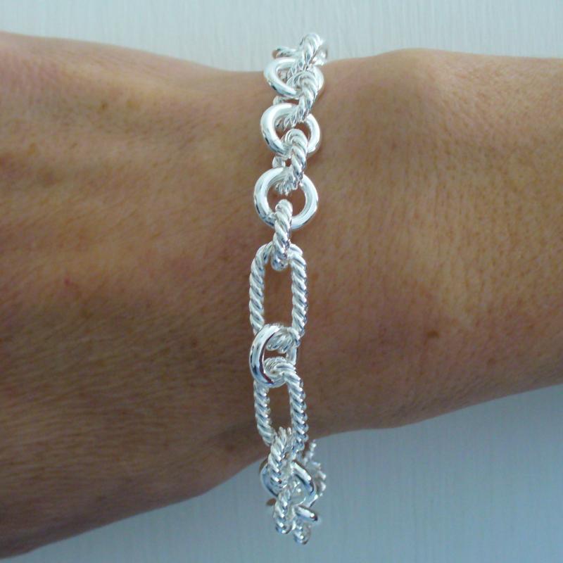 Sterling silver textured link bracelet 8mm