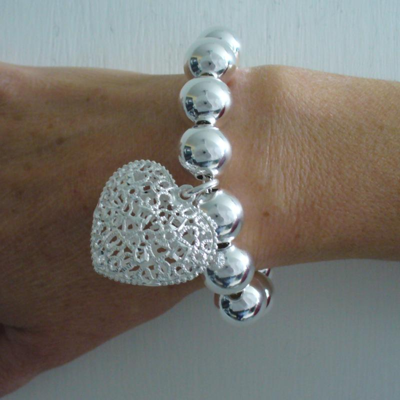 Sterling silver bead bracelet for woman - 14mm with large heart charm