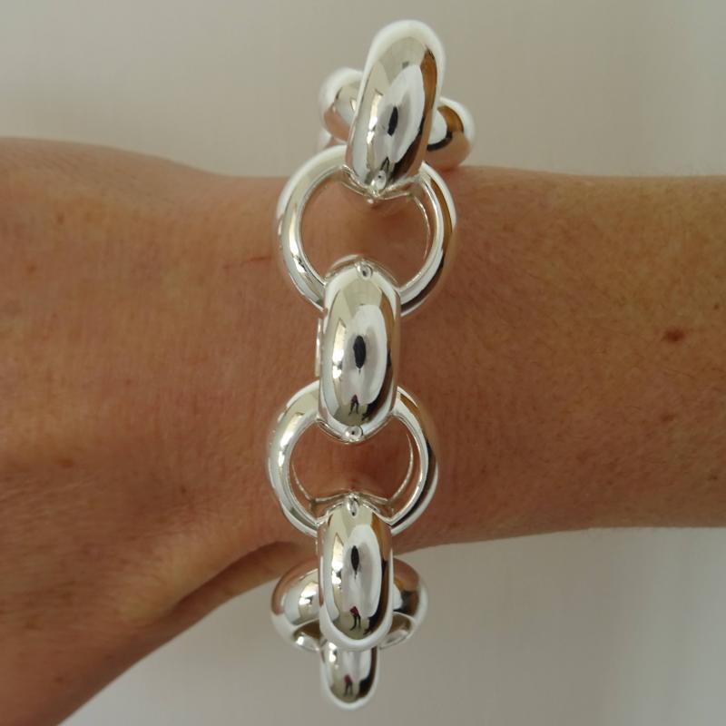 Bracciale argento rolo tondo 22mm - Bracciale donna argento 925