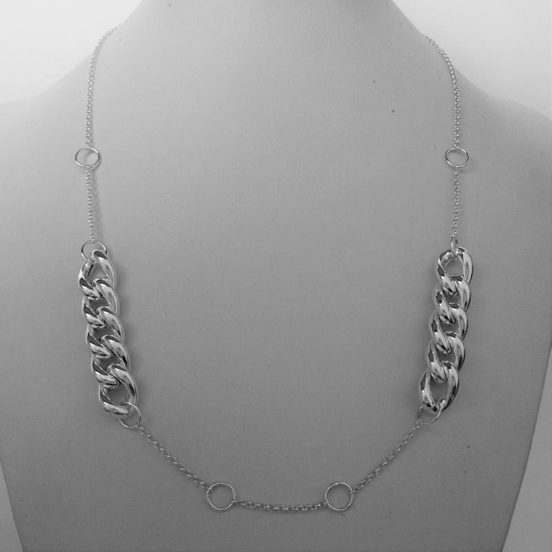 Handmade sterling silver necklace round link chain