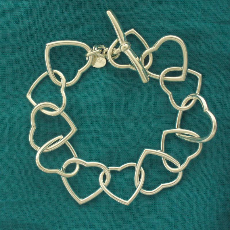 Bracciale argento 925 cuori incatenati - Bracciale donna in argento 925 catena con cuori