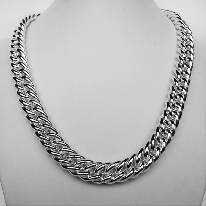Double curb necklace in sterling silver
