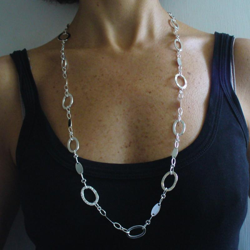 Long sterling silver necklace polished textured oval link chain 80 cm