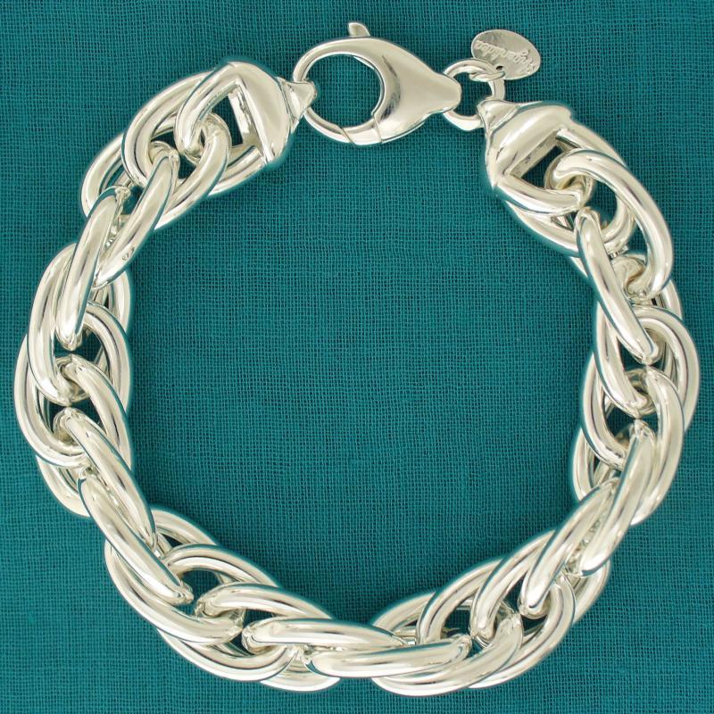 925 silver bracelet double link