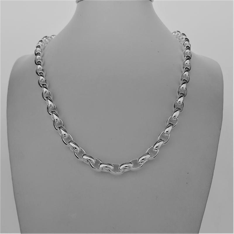 Solid sterling silver oval rolo chain