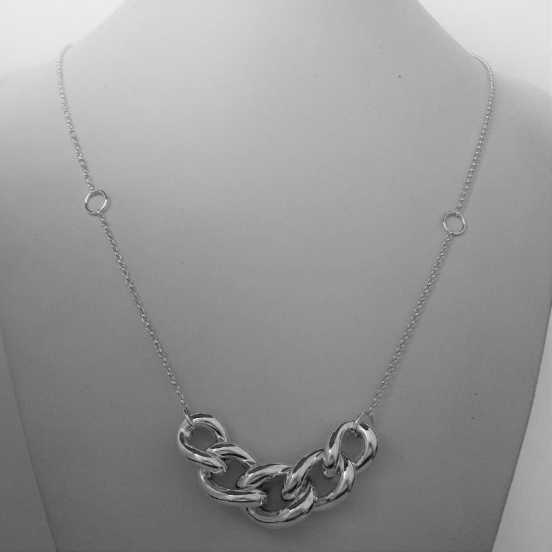 Sterling silver necklace graduated curb link 50 cm
