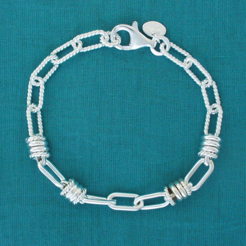 Solid sterling silver textured link bracelet