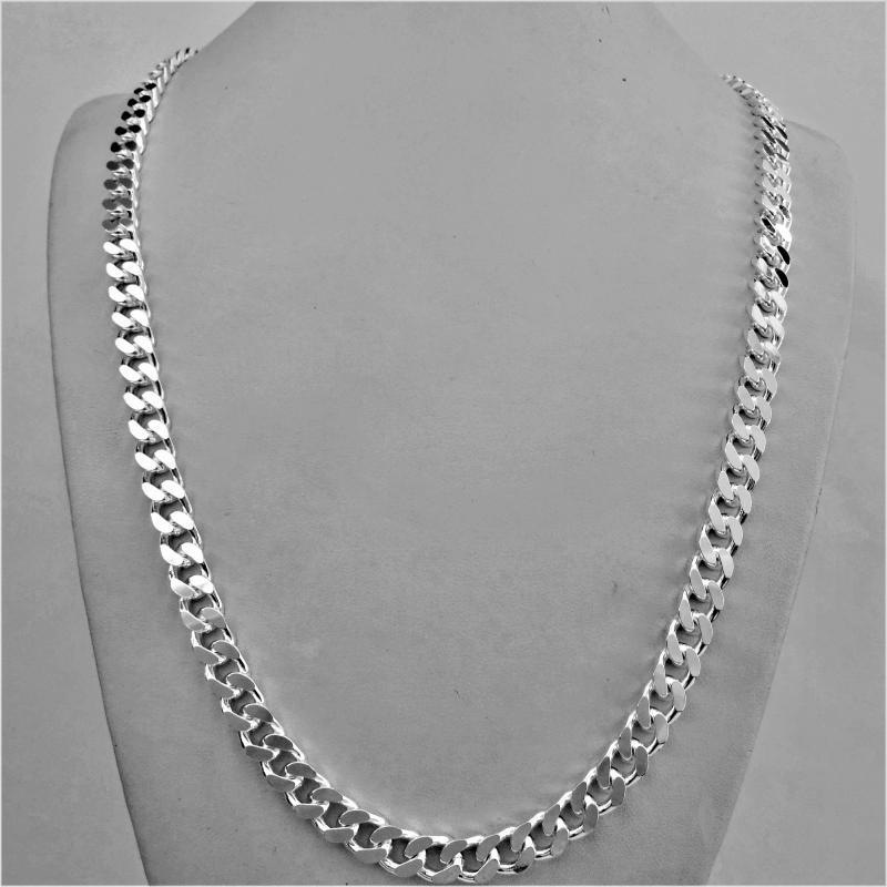 9f1cbdfe06 Silver diamond cut curb chain necklace made in Italy