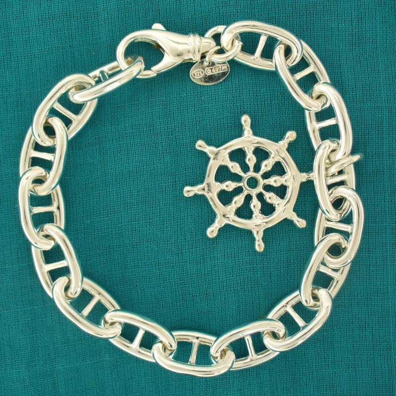 Sterling silver anchor chain bracelet, wheel charm.