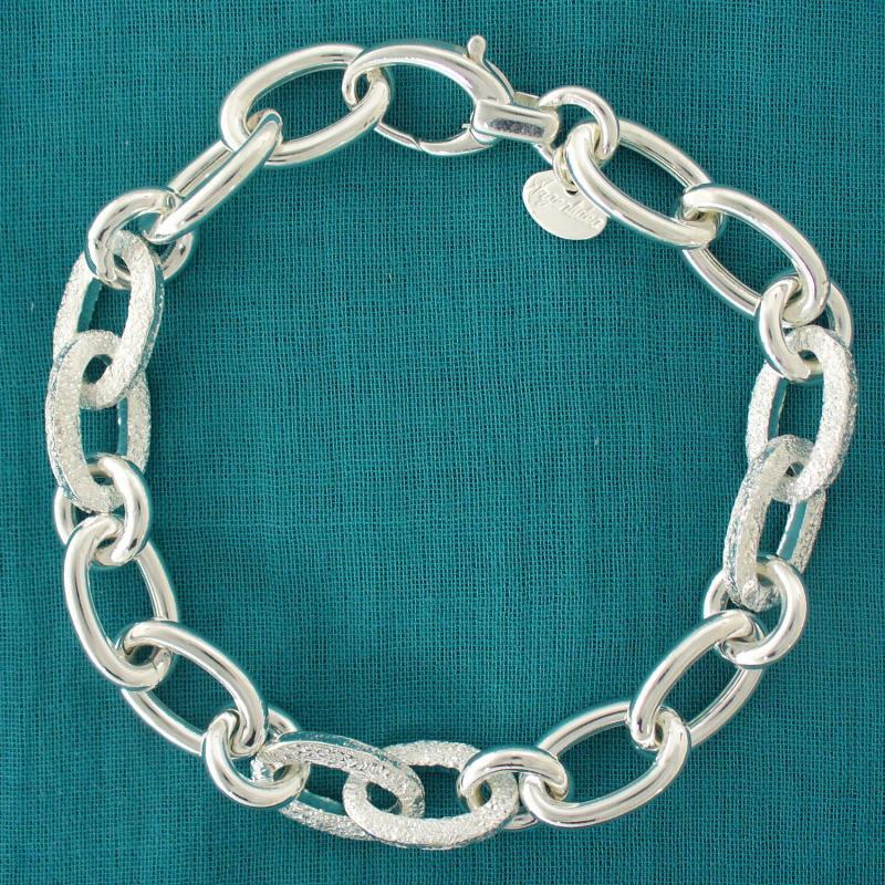 Bracciale argento satinato 10mm maglie ovali - Bracciale donna