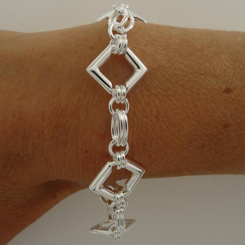 Bracciale argento catena maglie quadrate