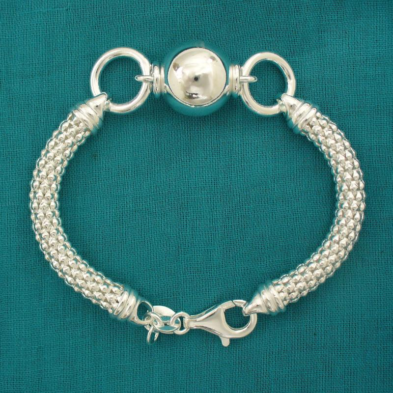 Silver Pop Corn chain bracelet