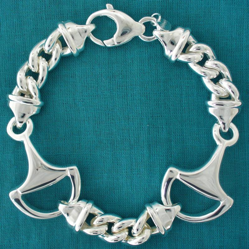 Morsi per cavallo equitazione - Bracciale morsi cavallo e grumetta in argento 925.