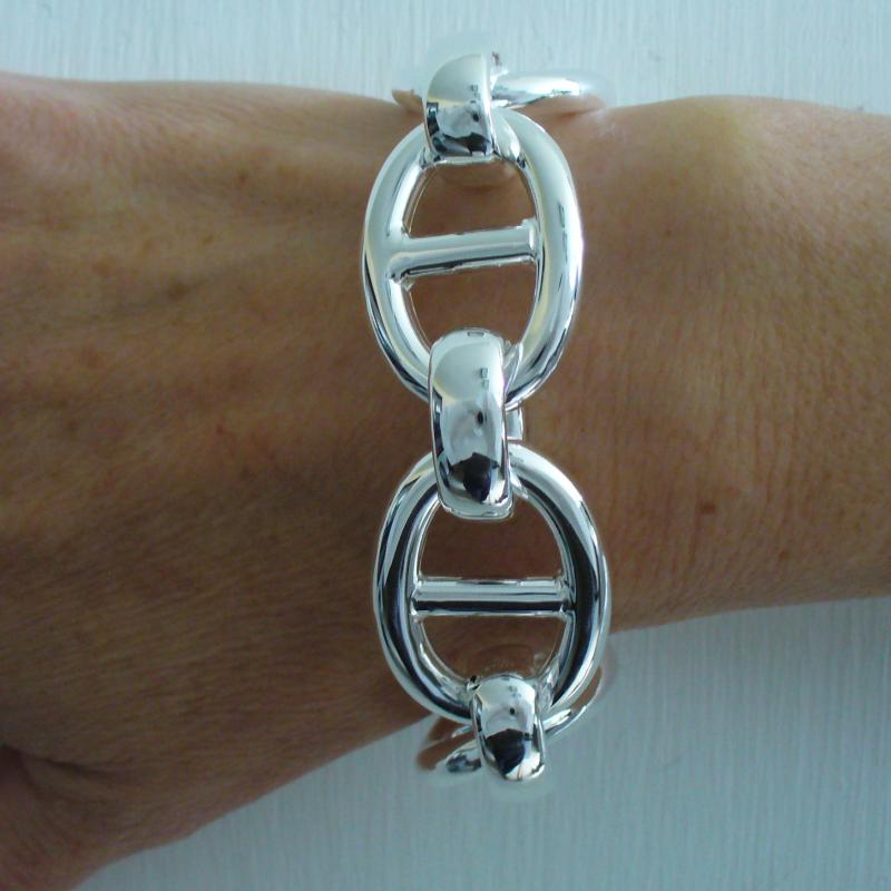 Sterling silver large anchor chain bracelet