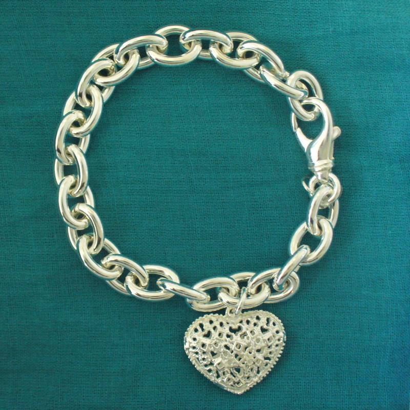 Extrêmement Bracciale con ciondolo cuore traforato in argento 925 EF66