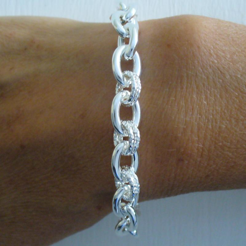 925 silver link bracelet made in Italy
