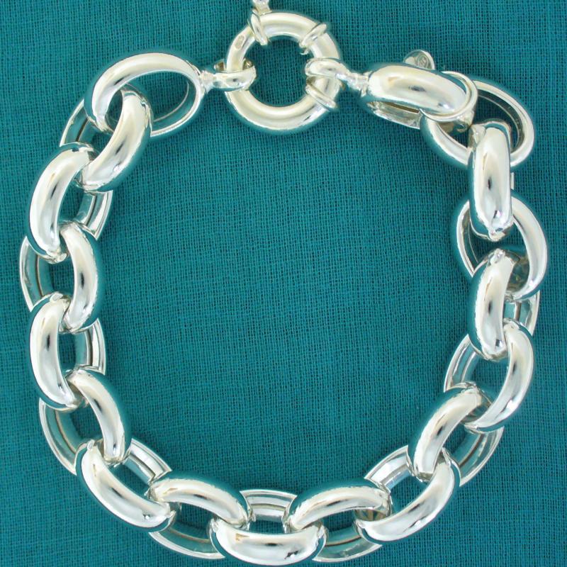 Bracciale argento rolo ovale 13mm - Bracciale donna con maglie ovali