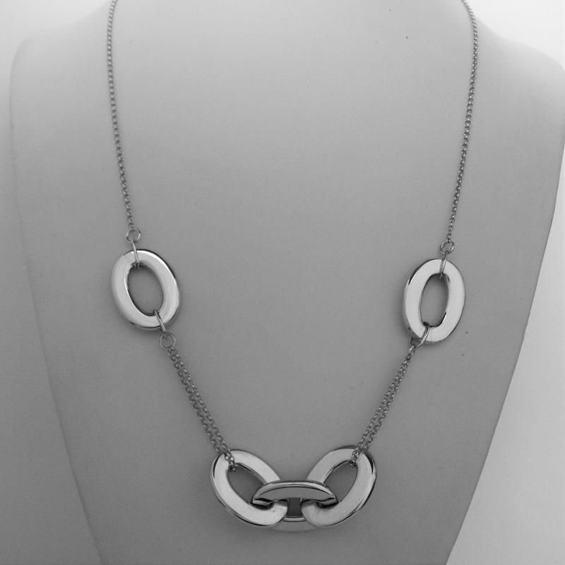 Sterling silver necklace with oval link chain 50 cm