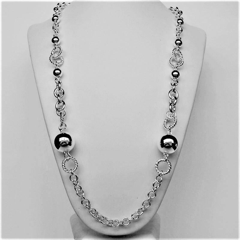 Long silver necklace with beads
