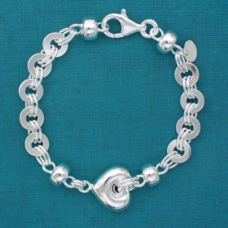 925 Italy silver heart bracelet