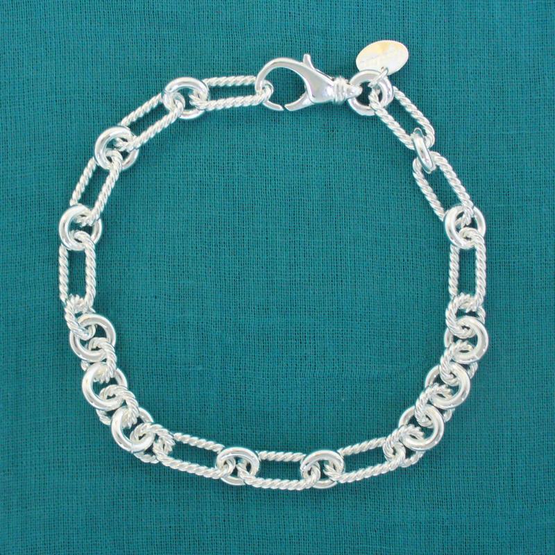 Bracciale argento maglia treccia piccola