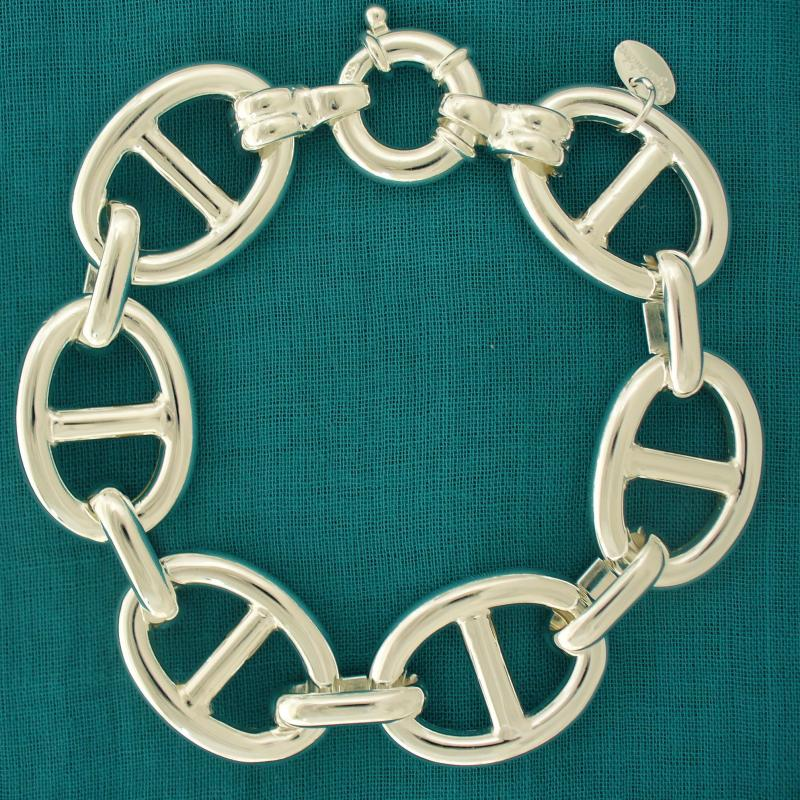Sterling silver anchor chain link bracelet