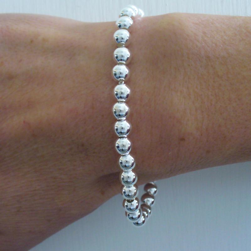 Sterling silver bead bracelet 6mm for woman